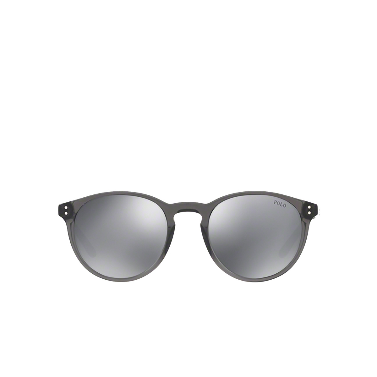 Polo Ralph Lauren® Round Sunglasses: PH4110 color Shiny Black Crystal 55366G - front view.