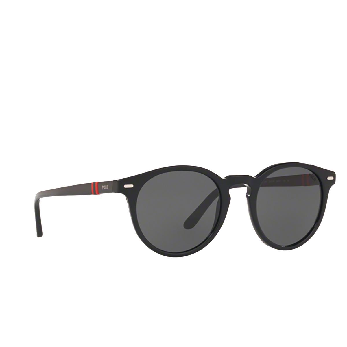 Polo Ralph Lauren® Round Sunglasses: PH4151 color Shiny Black 500187 - three-quarters view.