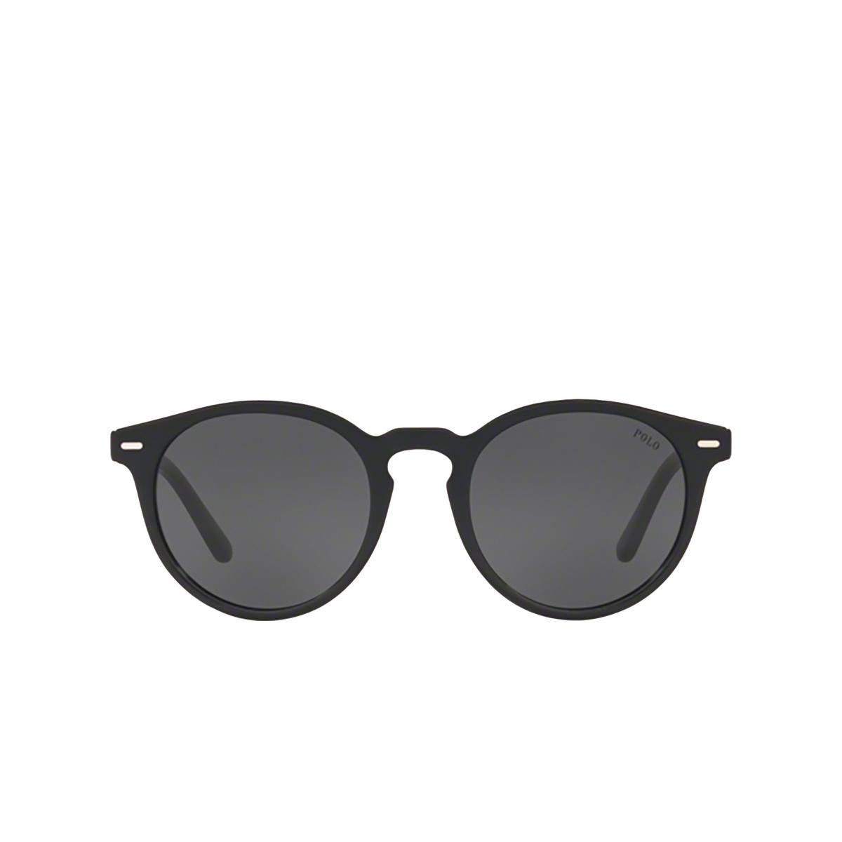 Polo Ralph Lauren® Round Sunglasses: PH4151 color Shiny Black 500187 - front view.