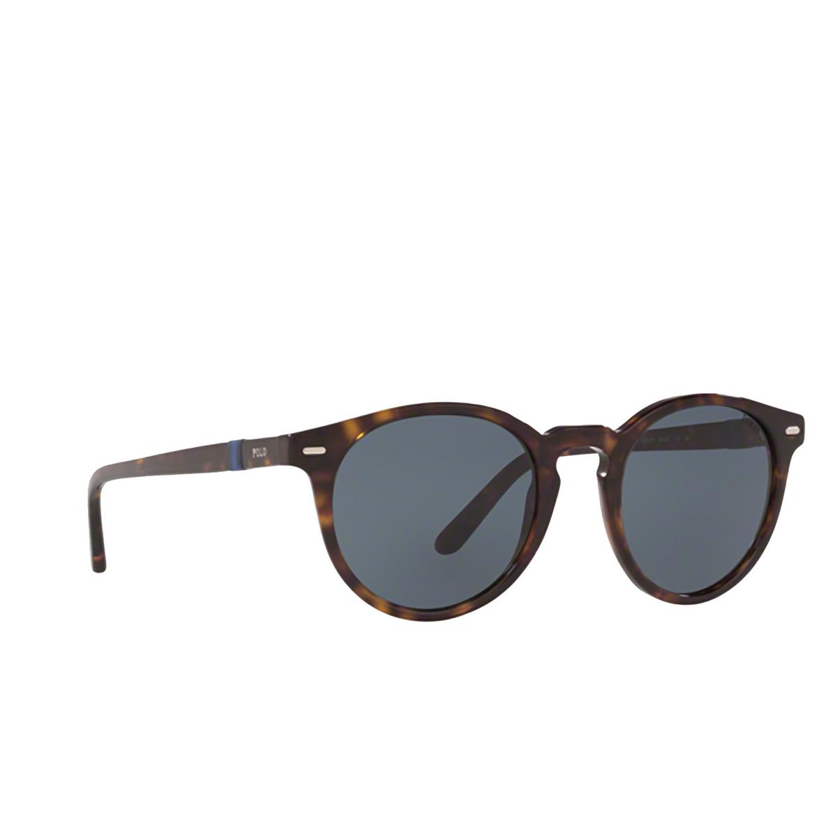 Polo Ralph Lauren® Round Sunglasses: PH4151 color Shiny Dark Havana 500387 - three-quarters view.