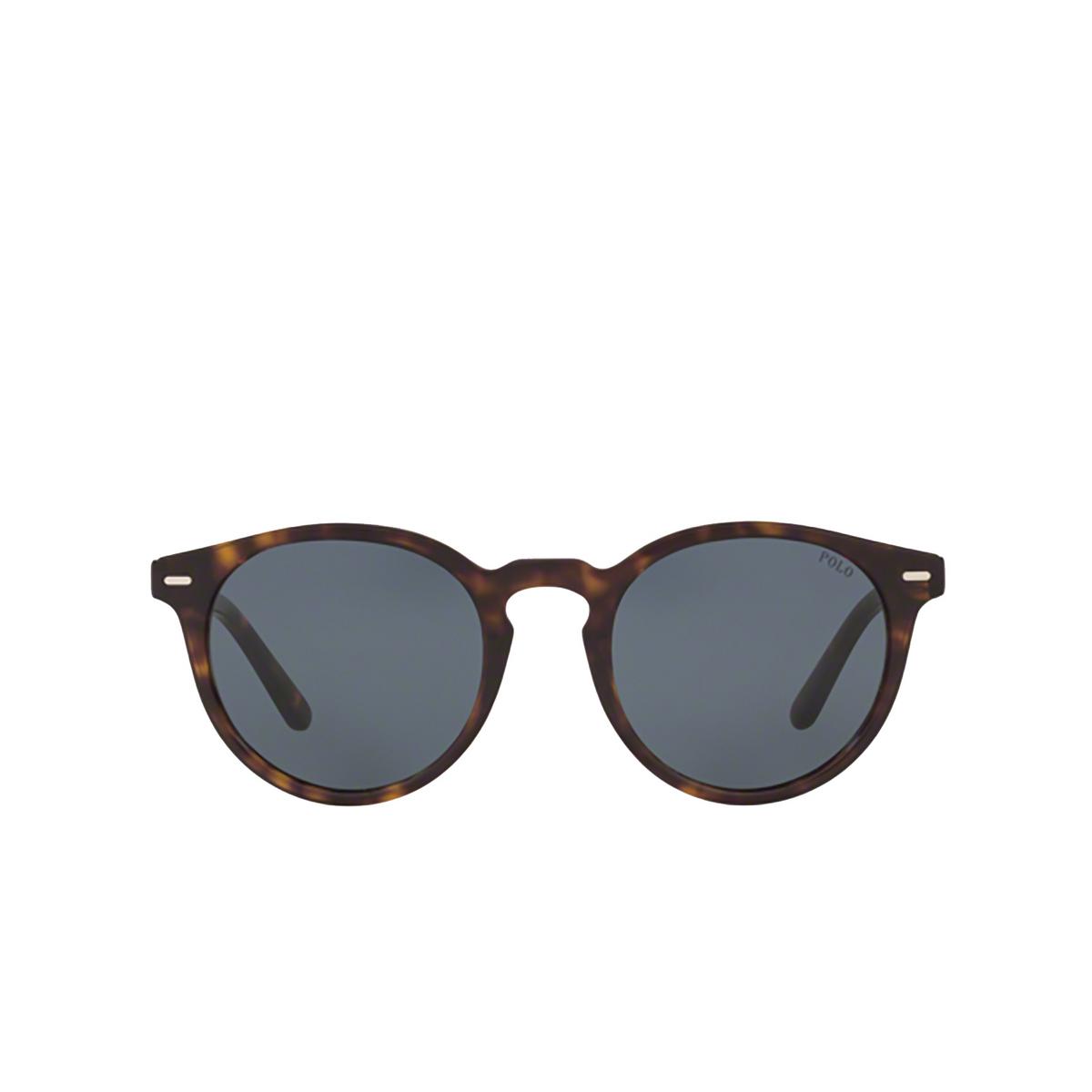 Polo Ralph Lauren® Round Sunglasses: PH4151 color Shiny Dark Havana 500387 - front view.