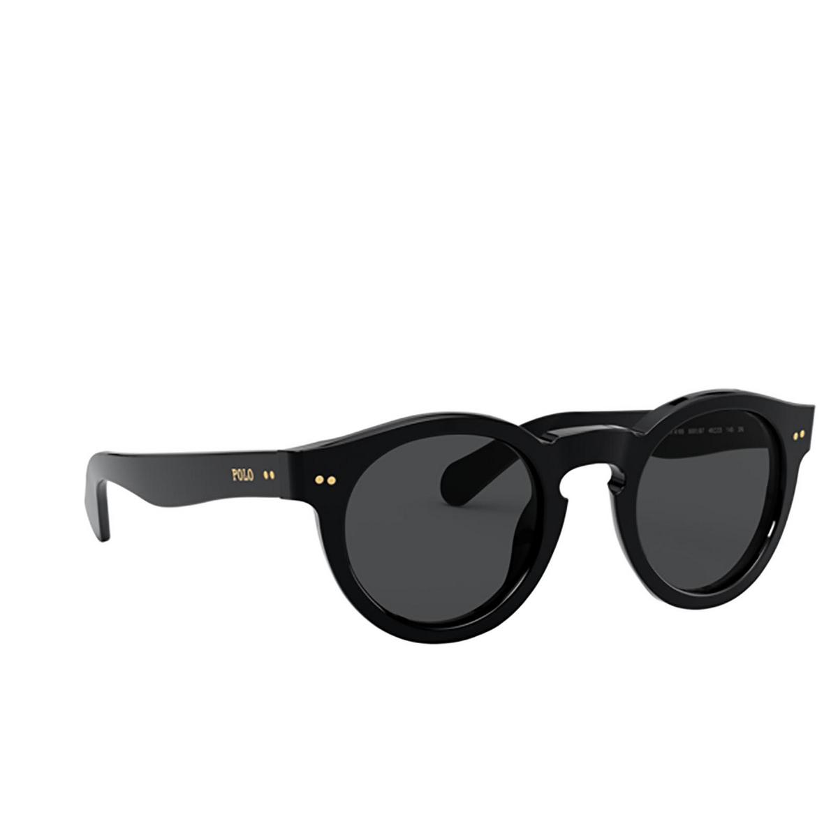 Polo Ralph Lauren® Round Sunglasses: PH4165 color Shiny Black 500187 - three-quarters view.