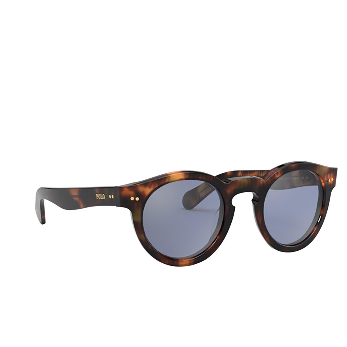 Polo Ralph Lauren® Round Sunglasses: PH4165 color Shiny Jerry Havana 50171U - three-quarters view.