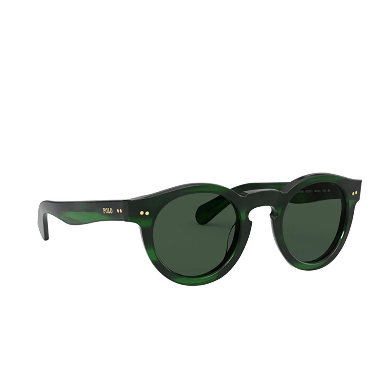 Polo Ralph Lauren® Round Sunglasses: PH4165 color Shiny Green Havana 512571 - three-quarters view.
