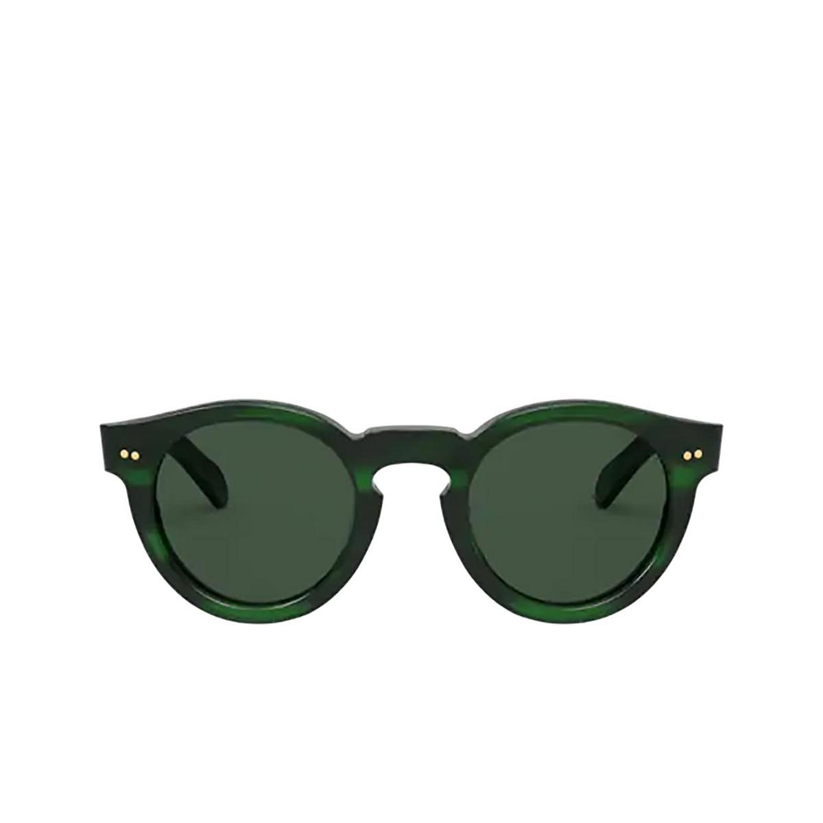 Polo Ralph Lauren® Round Sunglasses: PH4165 color Shiny Green Havana 512571 - front view.
