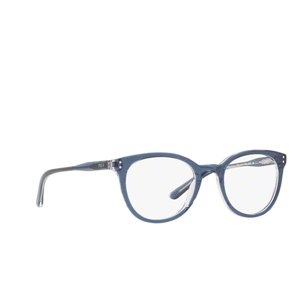 Polo Ralph Lauren® Round Eyeglasses: PP8529 color Shiny Navy Crystal 1666 - three-quarters view.