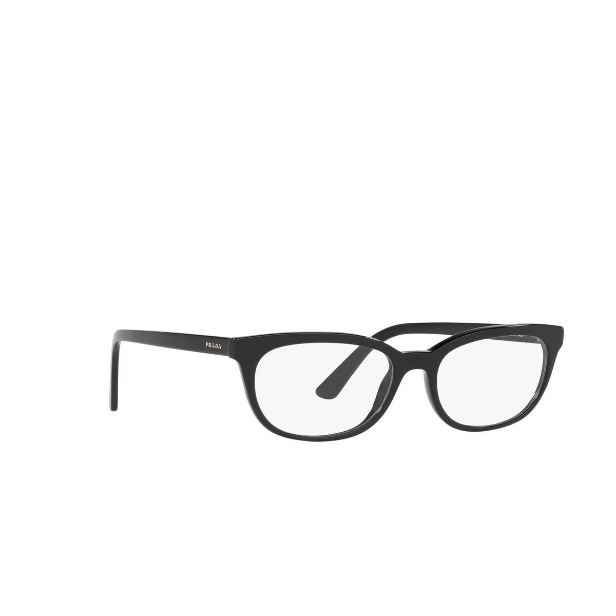 Prada® Oval Eyeglasses: Catwalk PR 13VV color Black 1AB1O1 - three-quarters view.