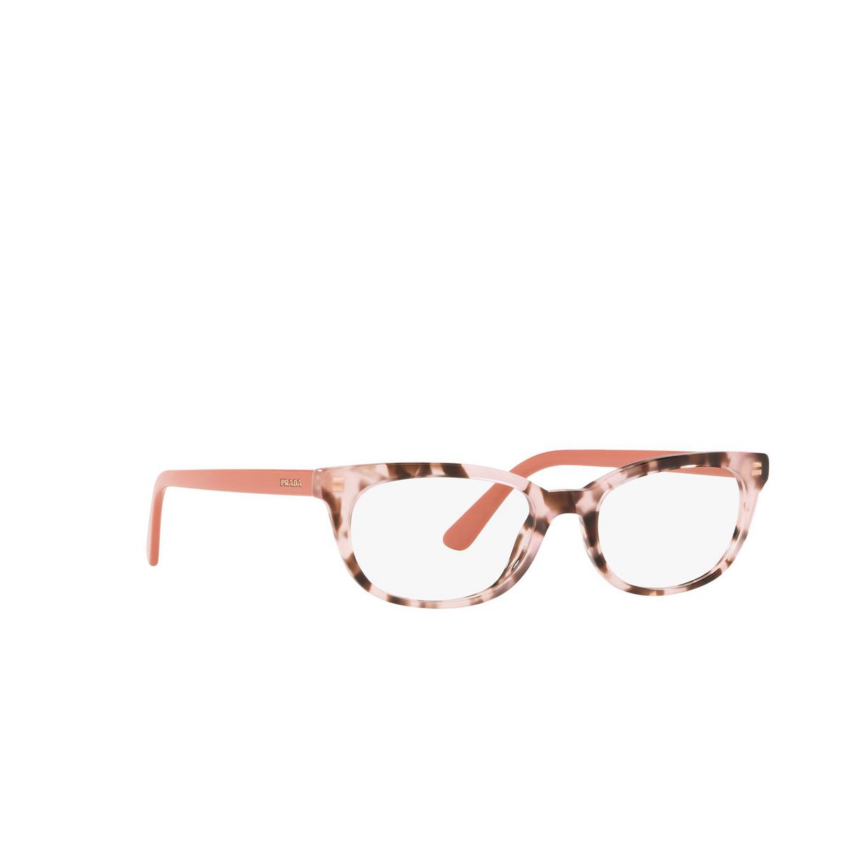 Prada® Oval Eyeglasses: Catwalk PR 13VV color Spotted Pink ROJ1O1 - three-quarters view.