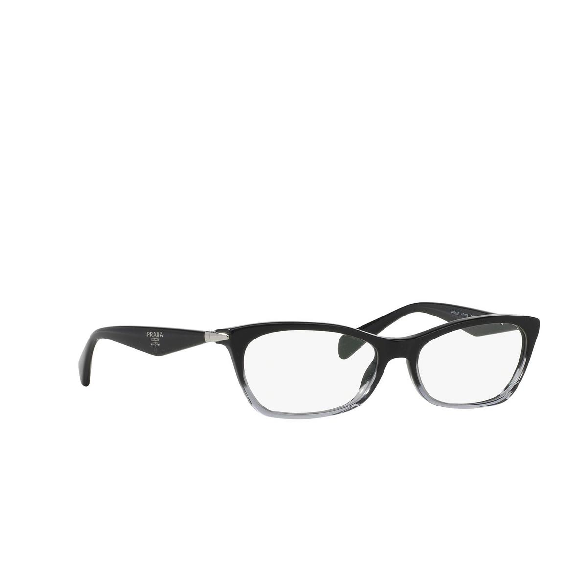 Prada® Cat-eye Eyeglasses: Catwalk PR 15PV color Black Gradient Transparent ZYY1O1 - three-quarters view.