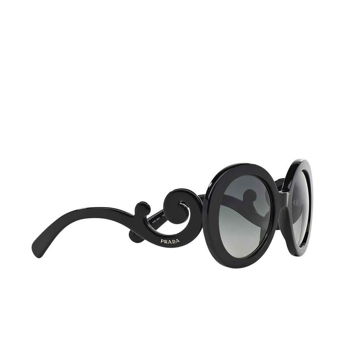Prada® Round Sunglasses: Catwalk PR 27NS color Black 1AB3M1 - three-quarters view.