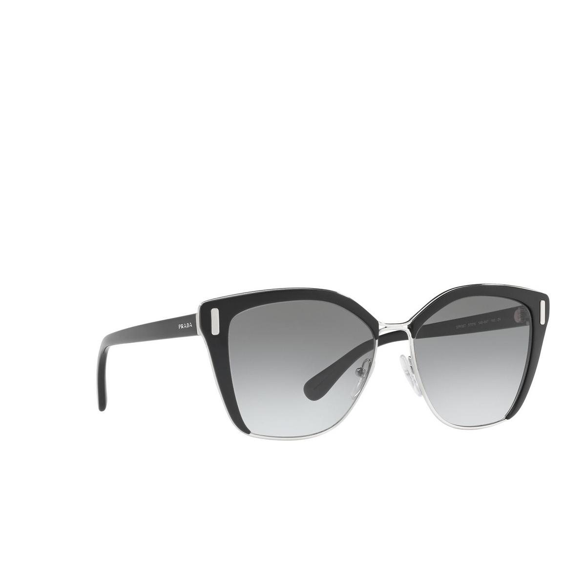 Prada® Square Sunglasses: PR 56TS color Black / Silver 1AB0A7.