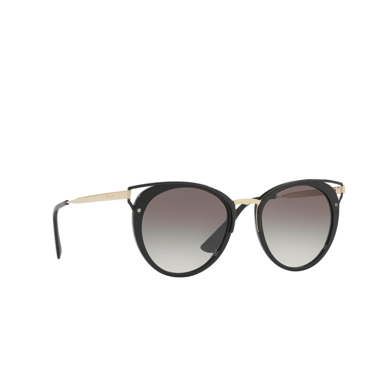 Prada® Cat-eye Sunglasses: PR 66TS color Black 1AB0A7 - three-quarters view.