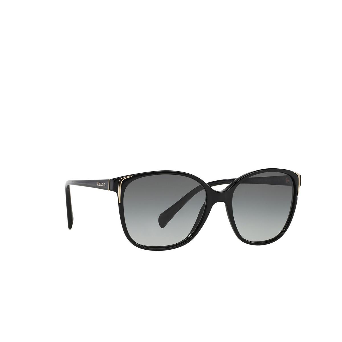 Prada® Cat-eye Sunglasses: PR 01OS color Black 1AB3M1 - three-quarters view.