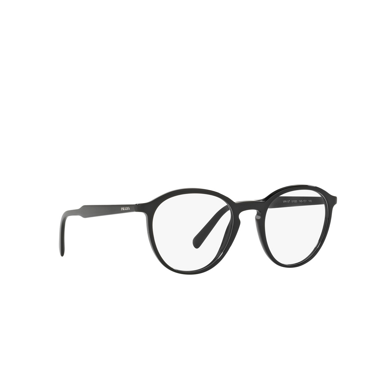 Prada® Round Eyeglasses: Conceptual PR 13TV color Black 1AB1O1 - three-quarters view.