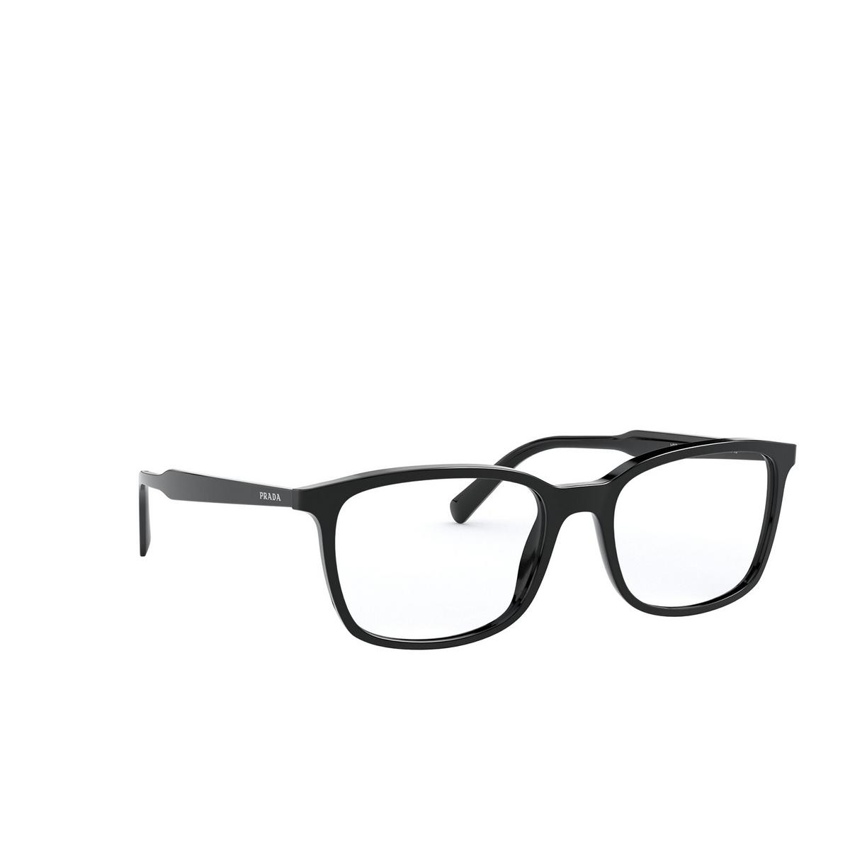 Prada® Rectangle Eyeglasses: Conceptual PR 13XV color Black 1AB1O1 - three-quarters view.