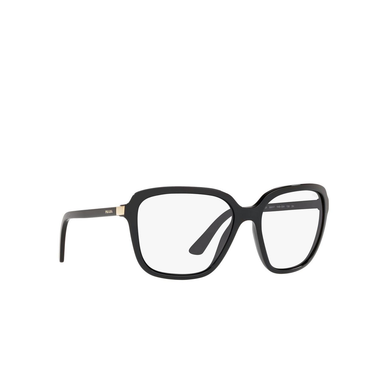 Prada® Square Sunglasses: Heritage PR 10VS color Black 1AB09H - three-quarters view.