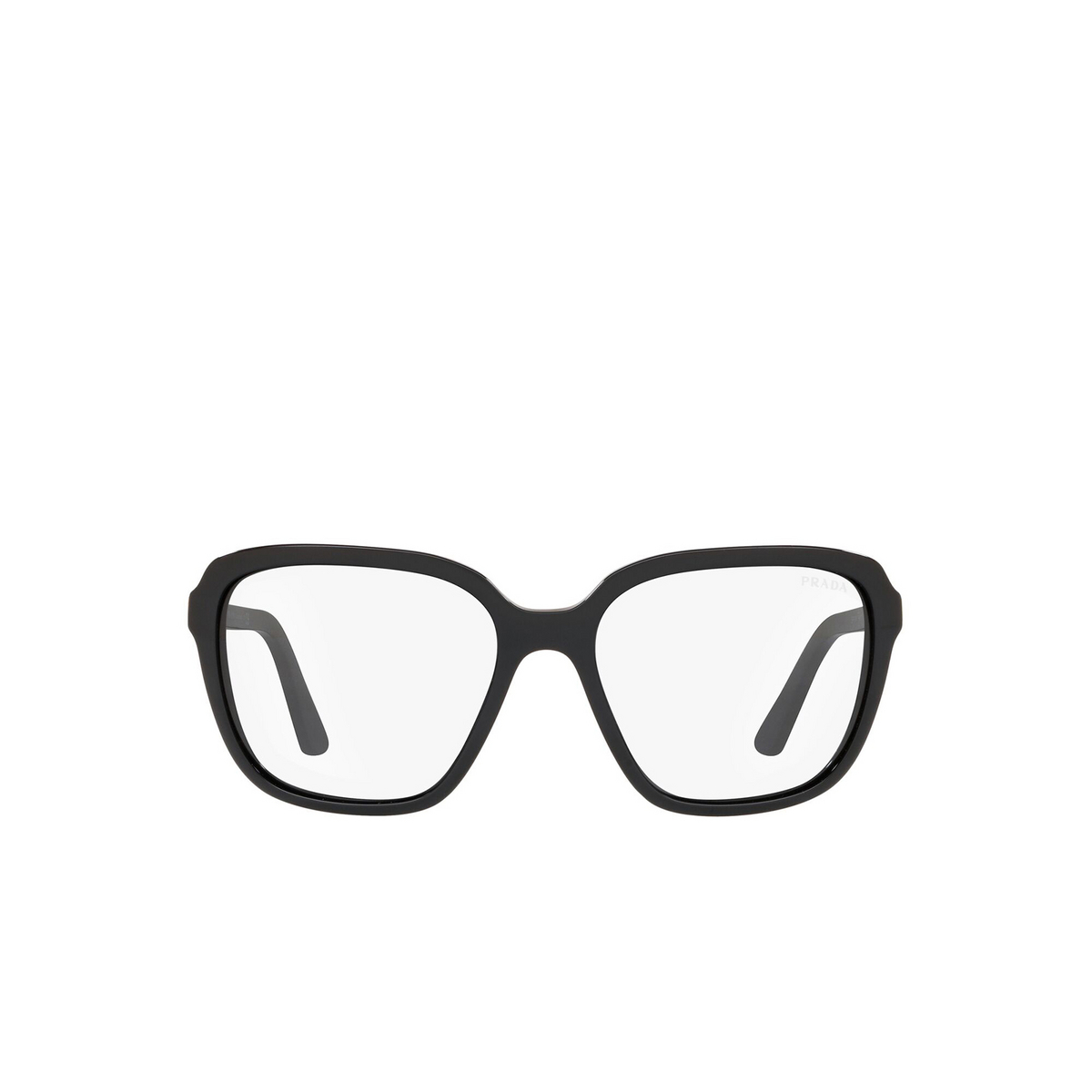 Prada® Square Sunglasses: Heritage PR 10VS color Black 1AB09H - front view.