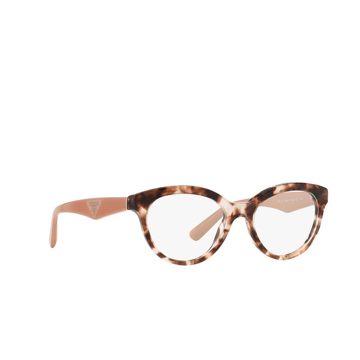 Prada® Square Eyeglasses: Heritage PR 11RV color Pink Havana ROJ1O1 - three-quarters view.