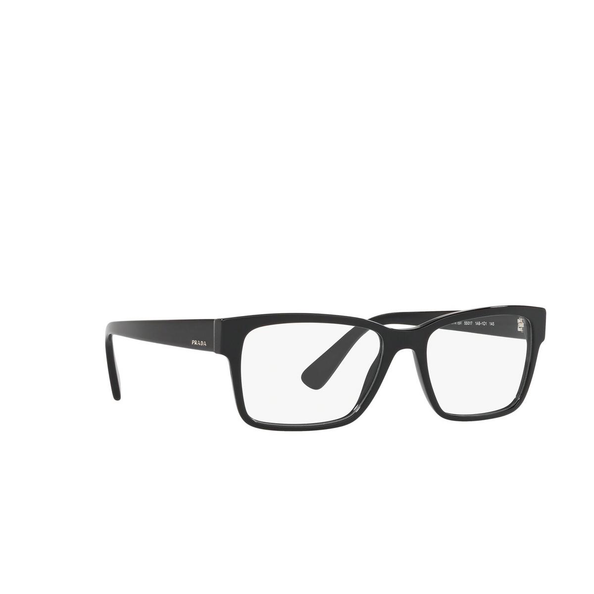 Prada® Rectangle Eyeglasses: Heritage PR 15VV color Black 1AB1O1 - three-quarters view.