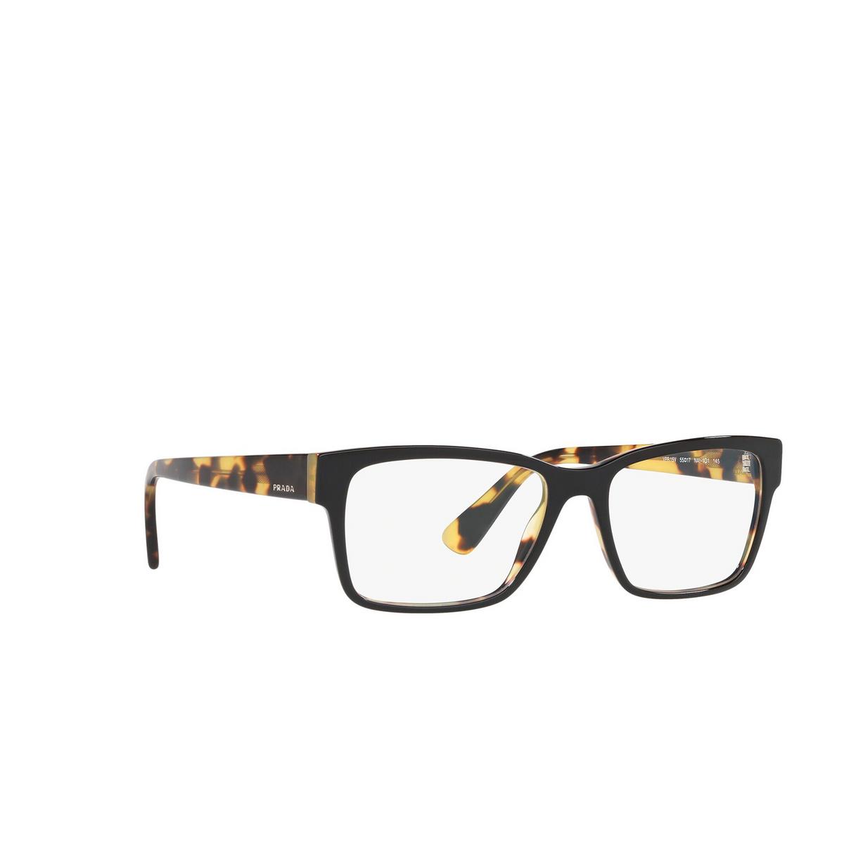 Prada® Rectangle Eyeglasses: Heritage PR 15VV color Top Black / Medium Havana NAI1O1 - three-quarters view.