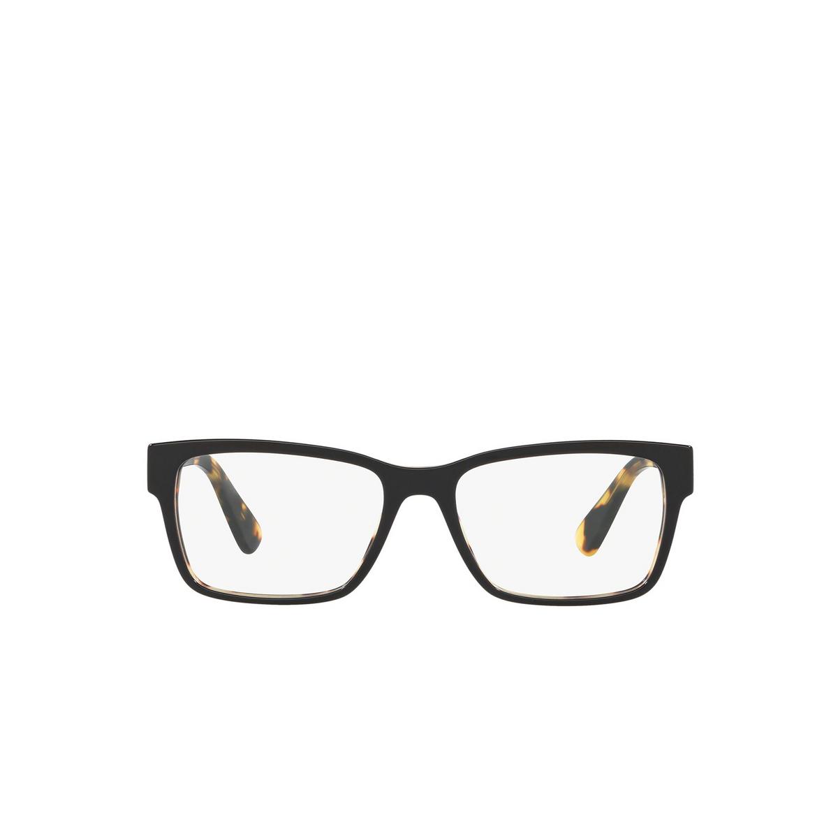 Prada® Rectangle Eyeglasses: Heritage PR 15VV color Top Black / Medium Havana NAI1O1 - front view.