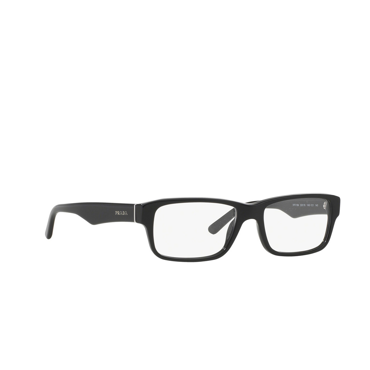 Prada® Rectangle Eyeglasses: Heritage PR 16MV color Gloss Black 1AB1O1 - three-quarters view.