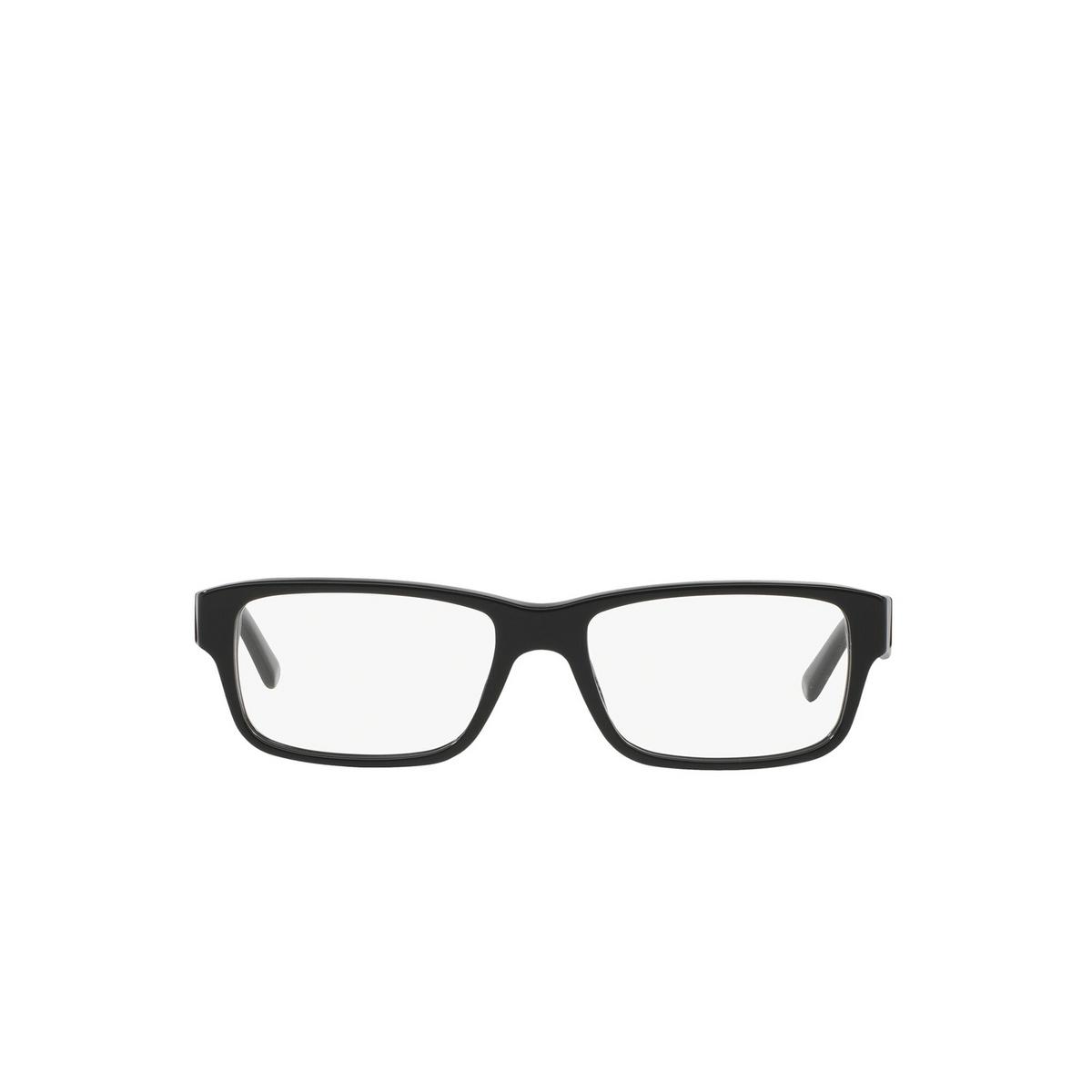 Prada® Rectangle Eyeglasses: Heritage PR 16MV color Gloss Black 1AB1O1 - front view.