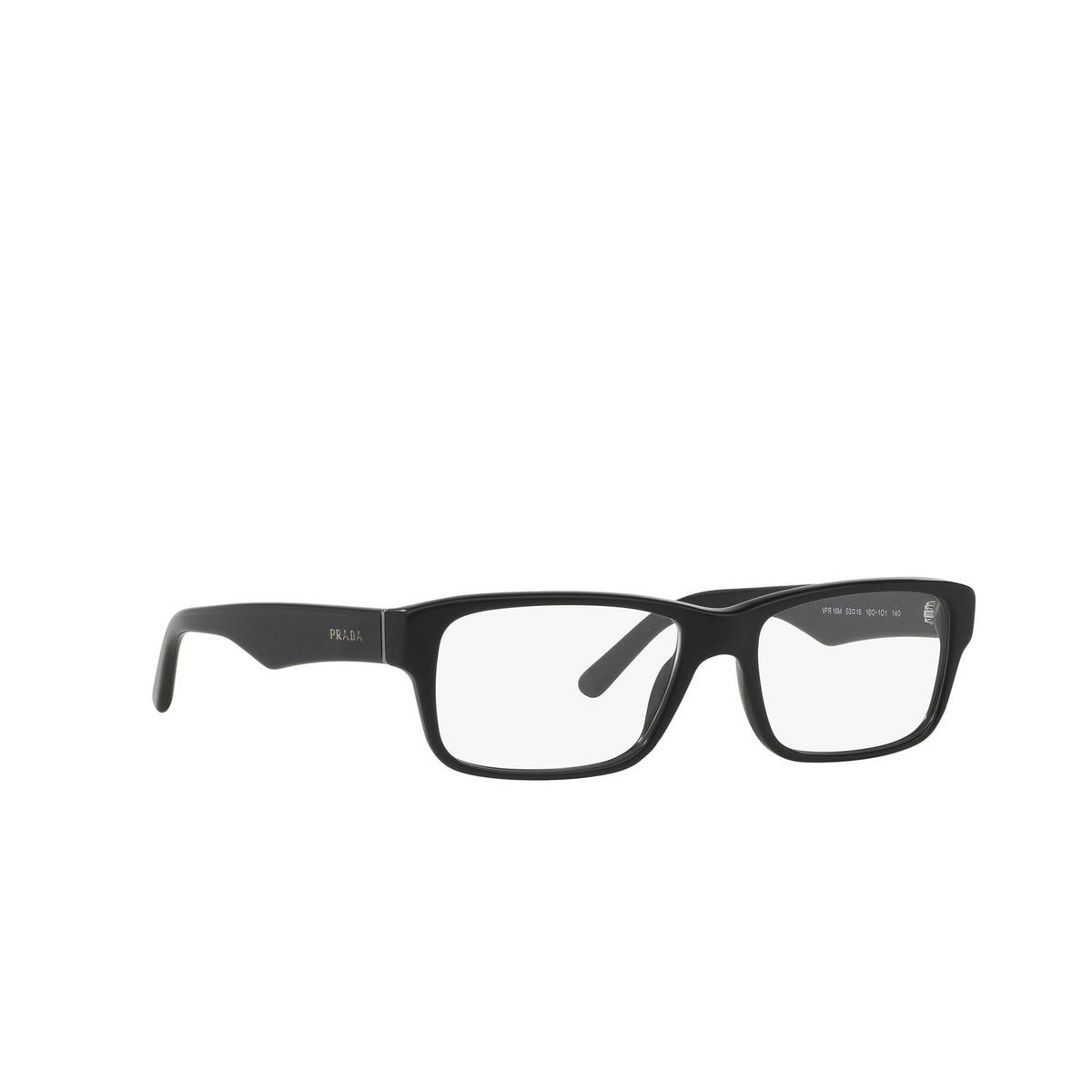 Prada® Rectangle Eyeglasses: Heritage PR 16MV color Matte Black 1BO1O1 - three-quarters view.