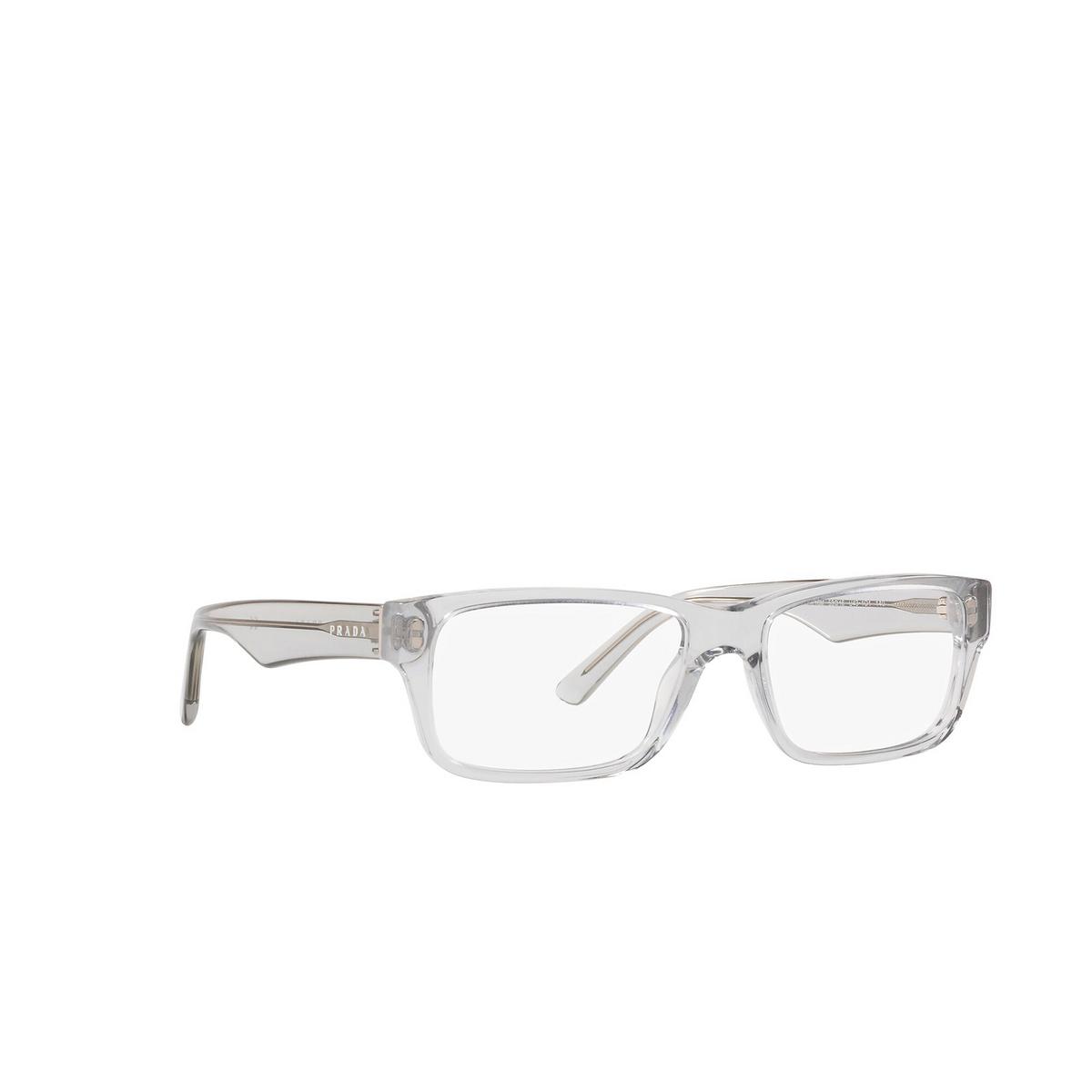 Prada® Rectangle Eyeglasses: Heritage PR 16MV color Grey Crystal U431O1 - three-quarters view.
