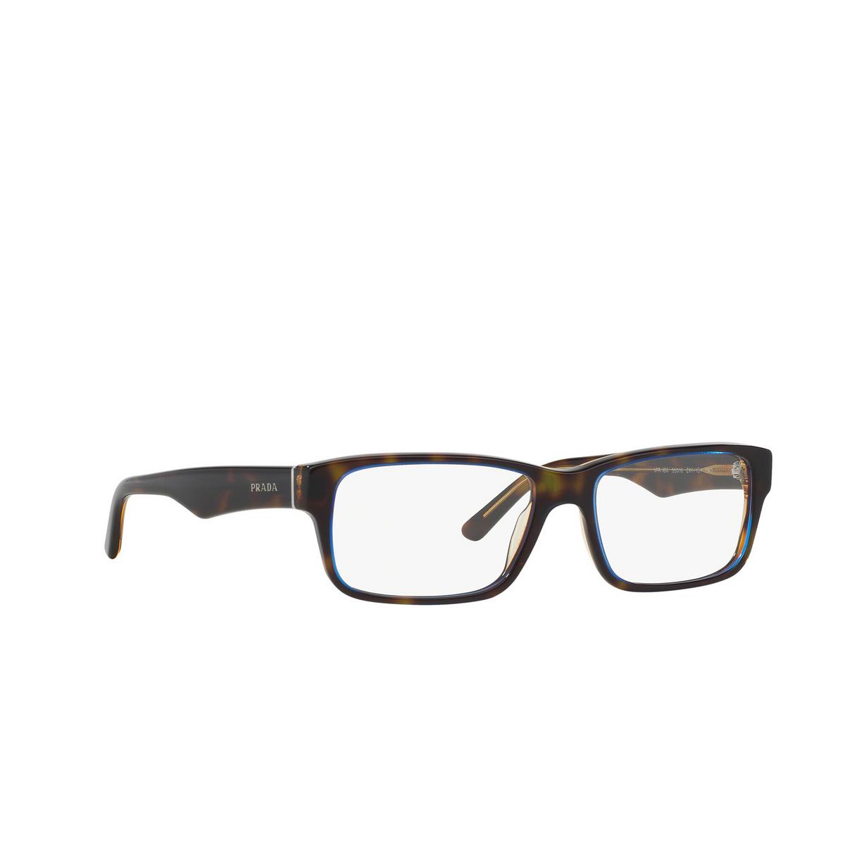 Prada® Rectangle Eyeglasses: Heritage PR 16MV color Tortoise Denim ZXH1O1 - three-quarters view.