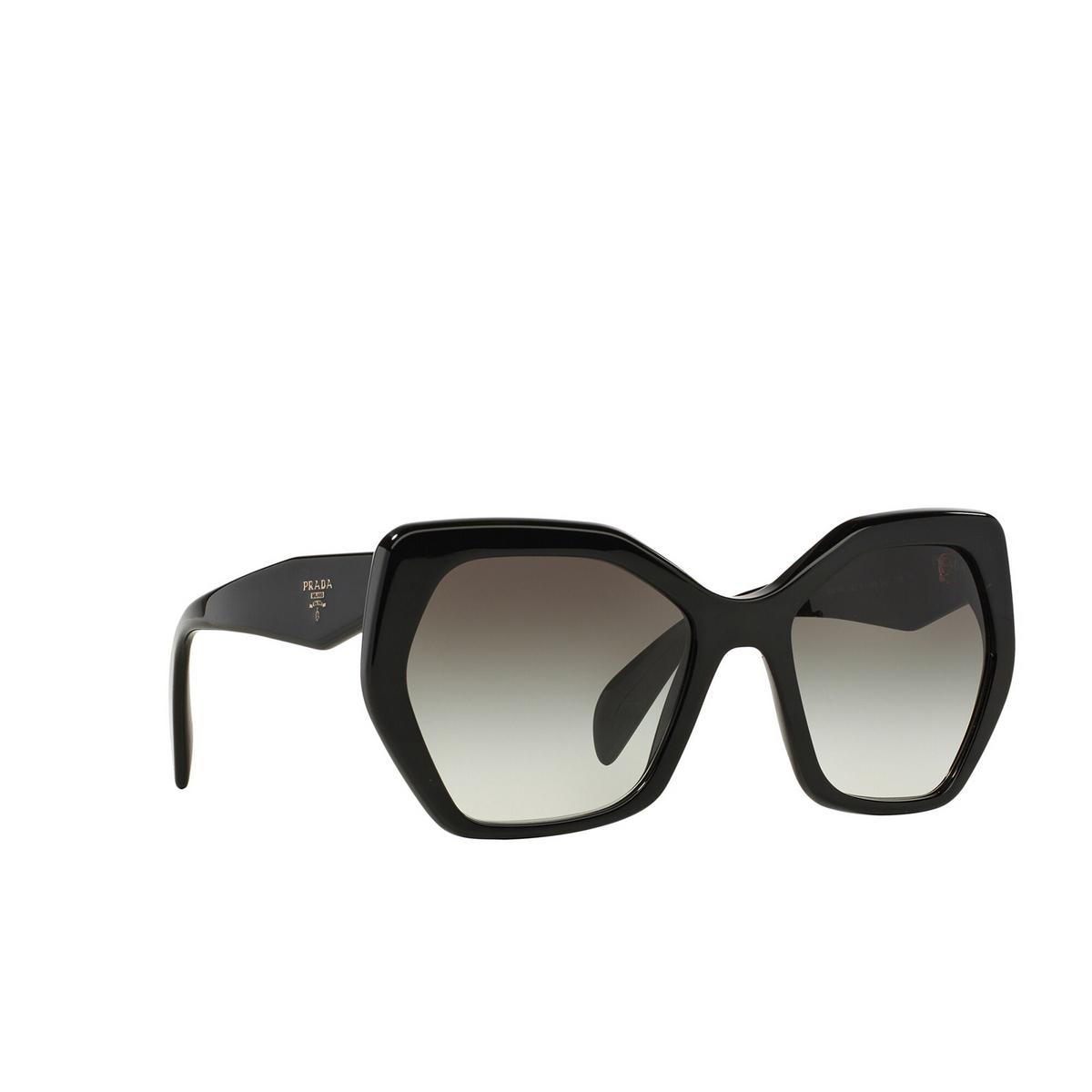 Prada® Irregular Sunglasses: Heritage PR 16RS color Black 1AB0A7 - three-quarters view.