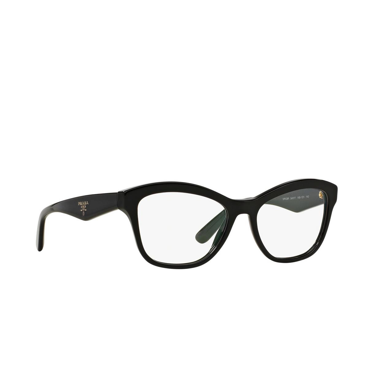Prada® Cat-eye Eyeglasses: Heritage PR 29RV color Black 1AB1O1 - three-quarters view.