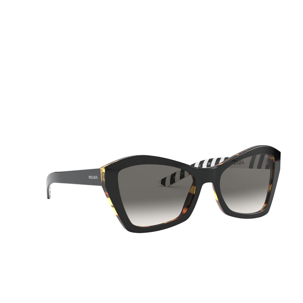 Prada® Butterfly Sunglasses: PR 07XS color Top Black / Medium Havana NAI130 - three-quarters view.