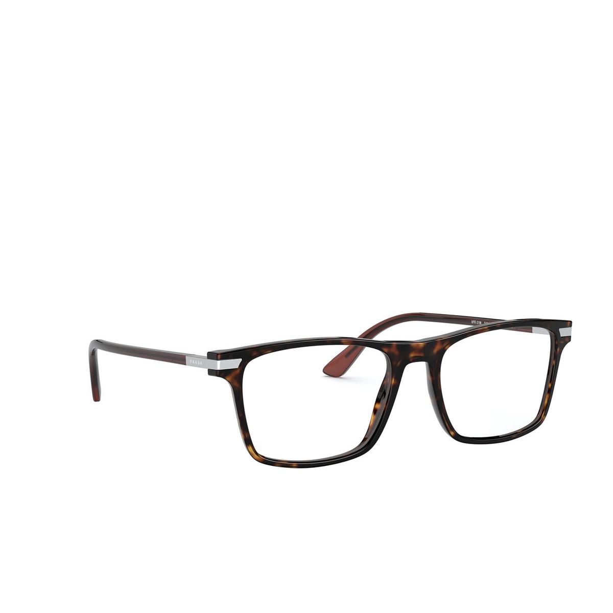 Prada® Rectangle Eyeglasses: PR 01WV color Havana 01A1O1 - three-quarters view.