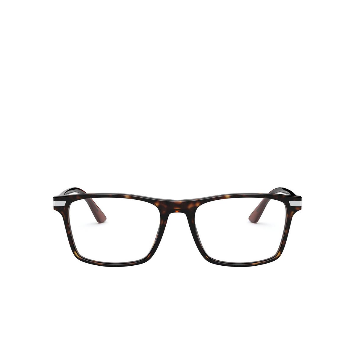Prada® Rectangle Eyeglasses: PR 01WV color Havana 01A1O1 - front view.