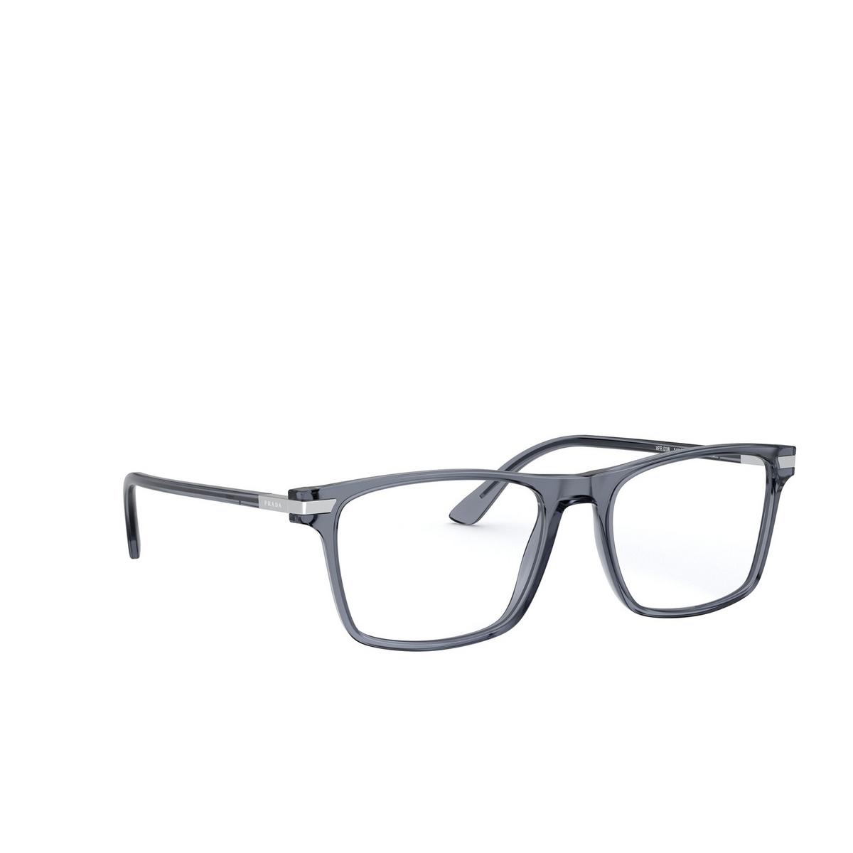 Prada® Rectangle Eyeglasses: PR 01WV color Grey 01G1O1 - three-quarters view.