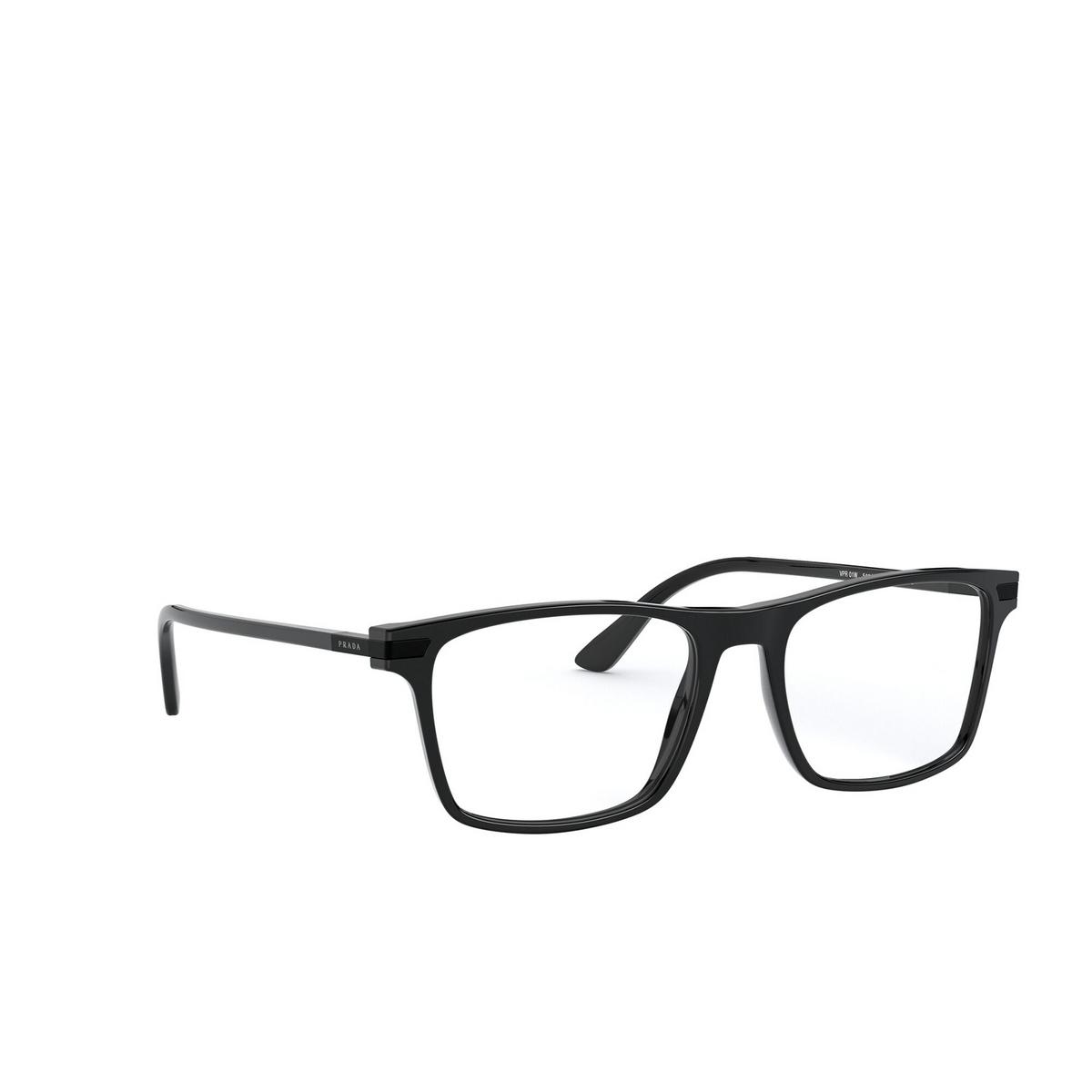 Prada® Rectangle Eyeglasses: PR 01WV color Black 07F1O1 - three-quarters view.
