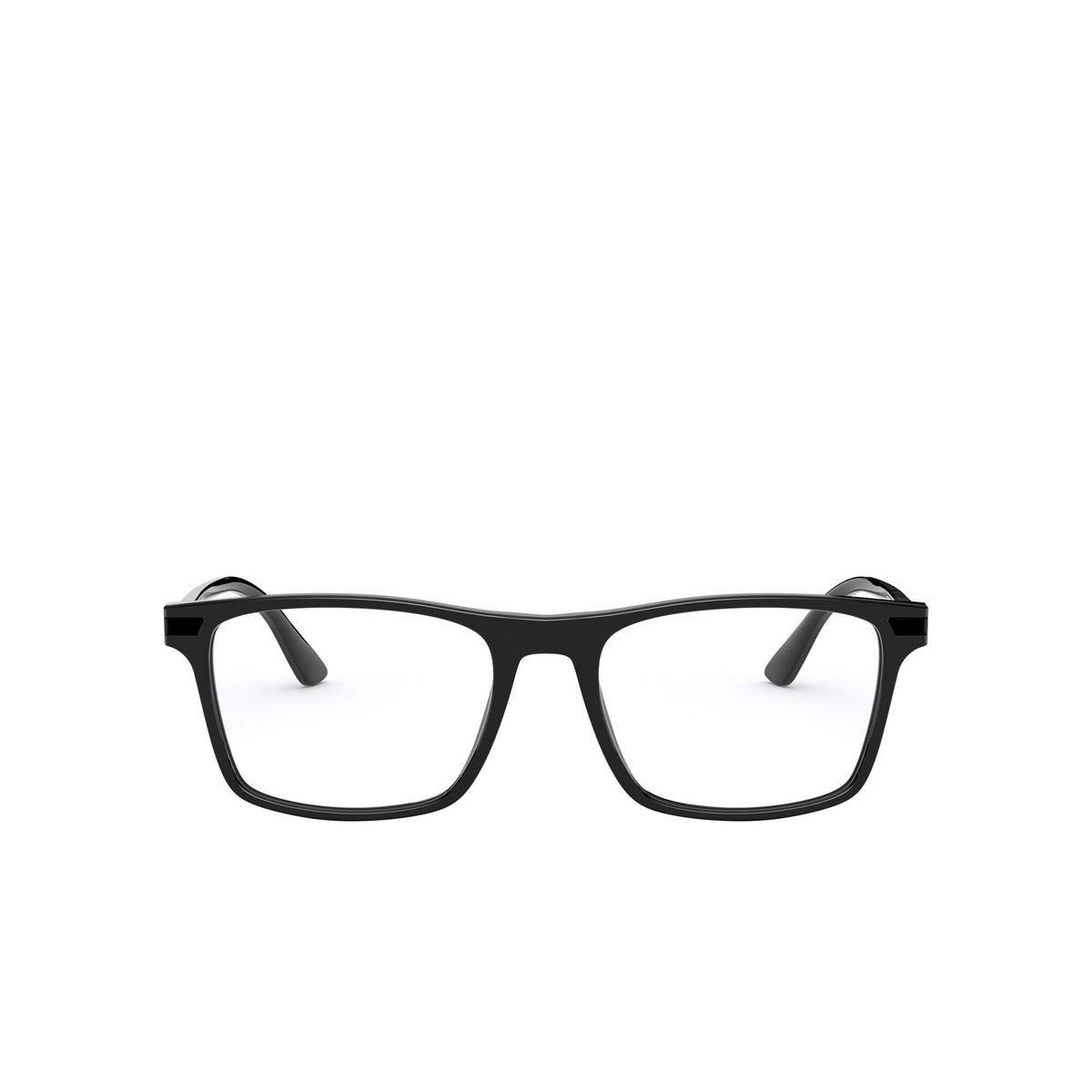 Prada® Rectangle Eyeglasses: PR 01WV color Black 07F1O1 - front view.