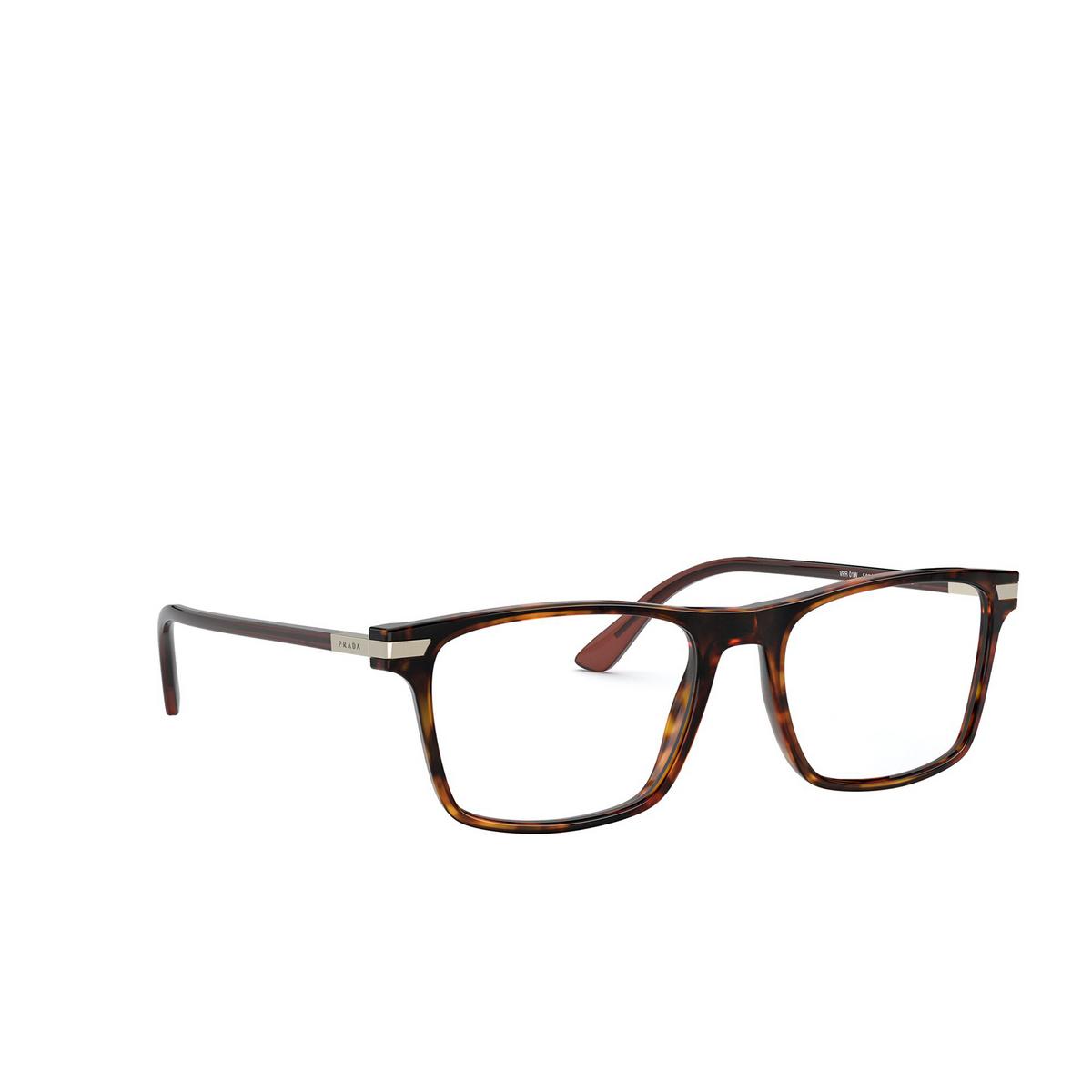 Prada® Rectangle Eyeglasses: PR 01WV color Havana 08F1O1 - three-quarters view.