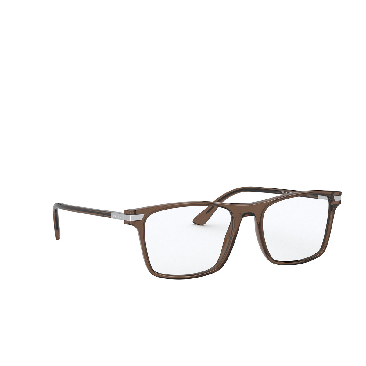 Prada® Rectangle Eyeglasses: PR 01WV color Brown 09F1O1 - three-quarters view.