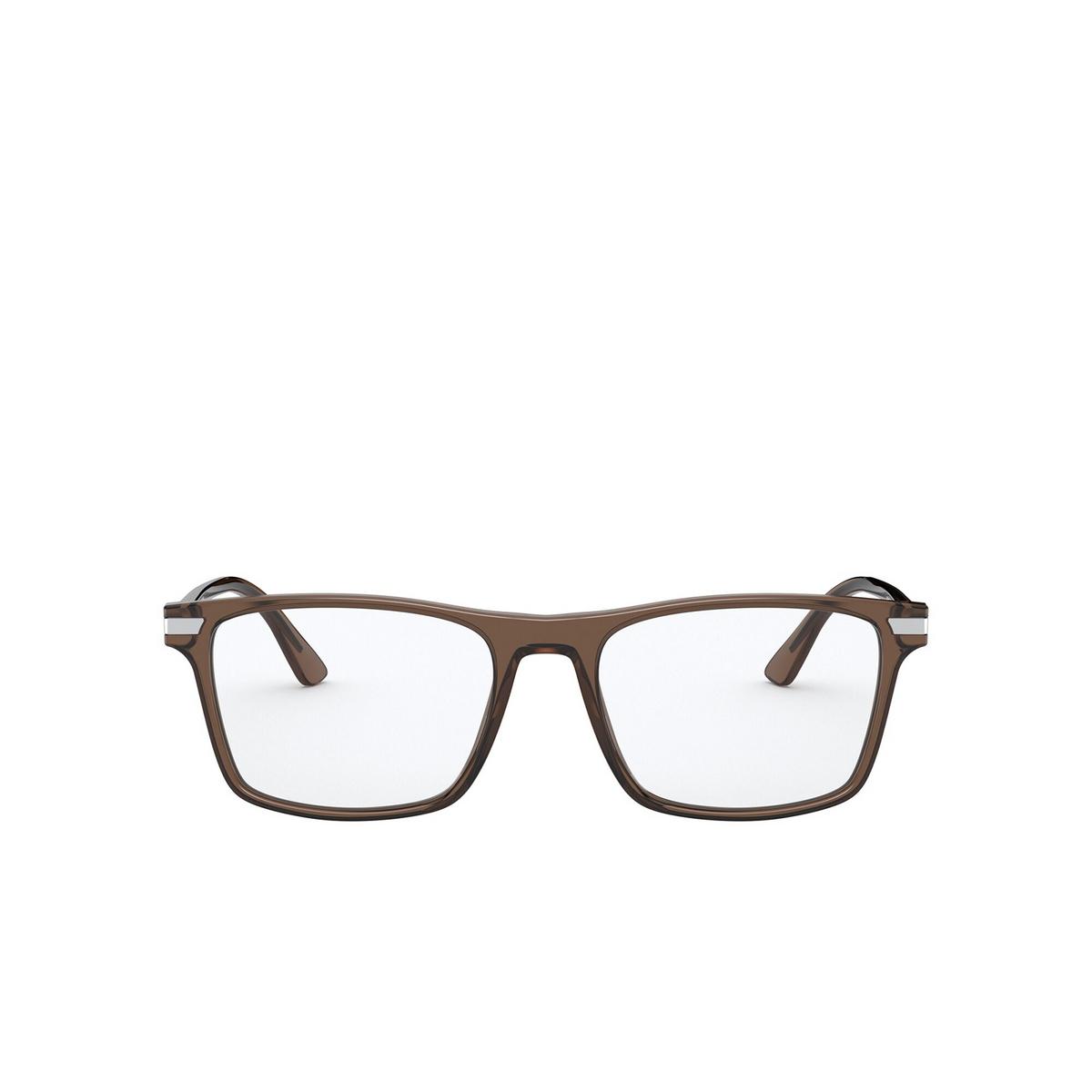 Prada® Rectangle Eyeglasses: PR 01WV color Brown 09F1O1 - front view.