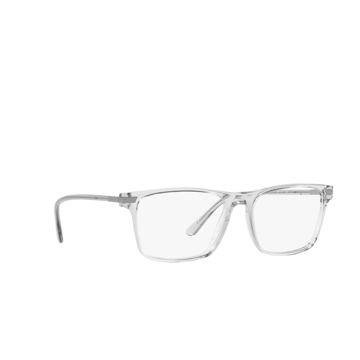 Prada® Rectangle Eyeglasses: PR 01WV color Transparent Grey U431O1 - three-quarters view.
