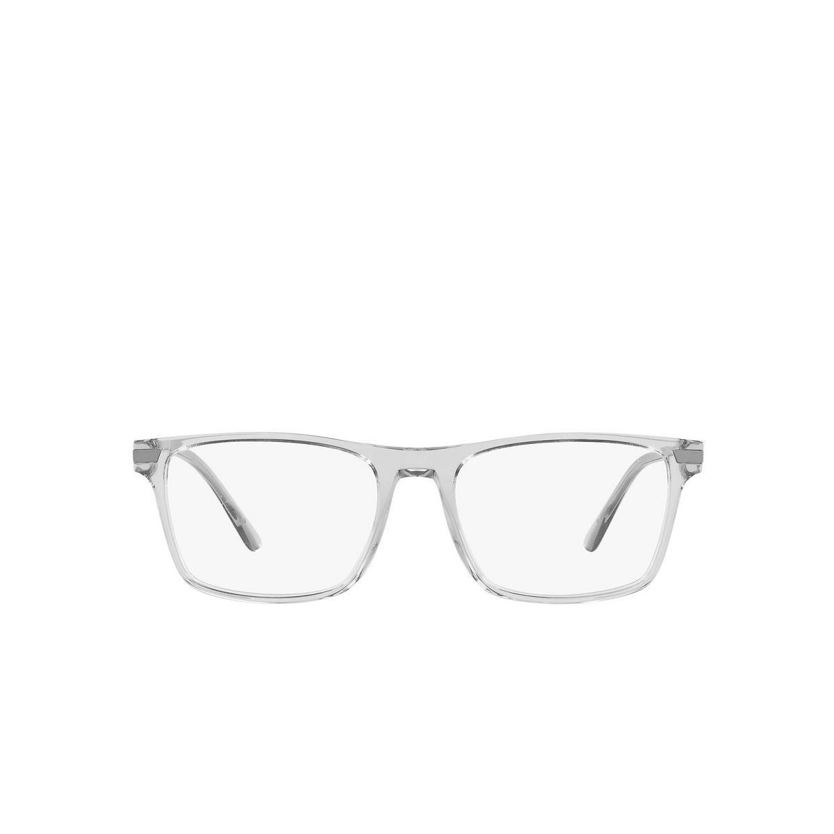 Prada® Rectangle Eyeglasses: PR 01WV color Transparent Grey U431O1 - front view.