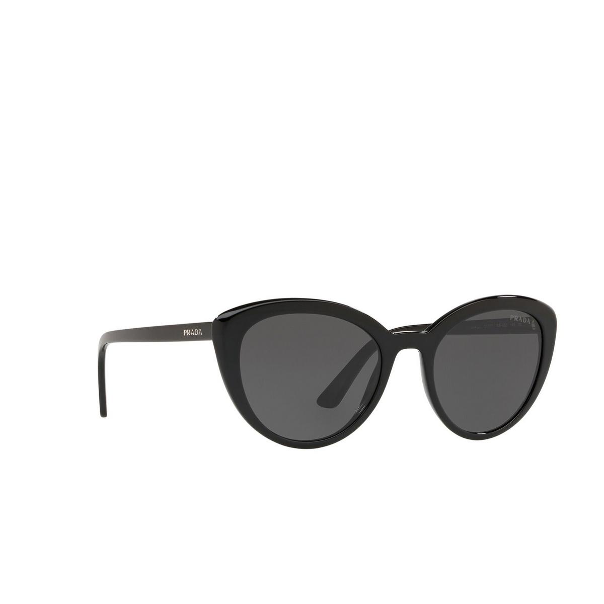 Prada® Cat-eye Sunglasses: PR 02VS color Black 1AB5S0 - three-quarters view.