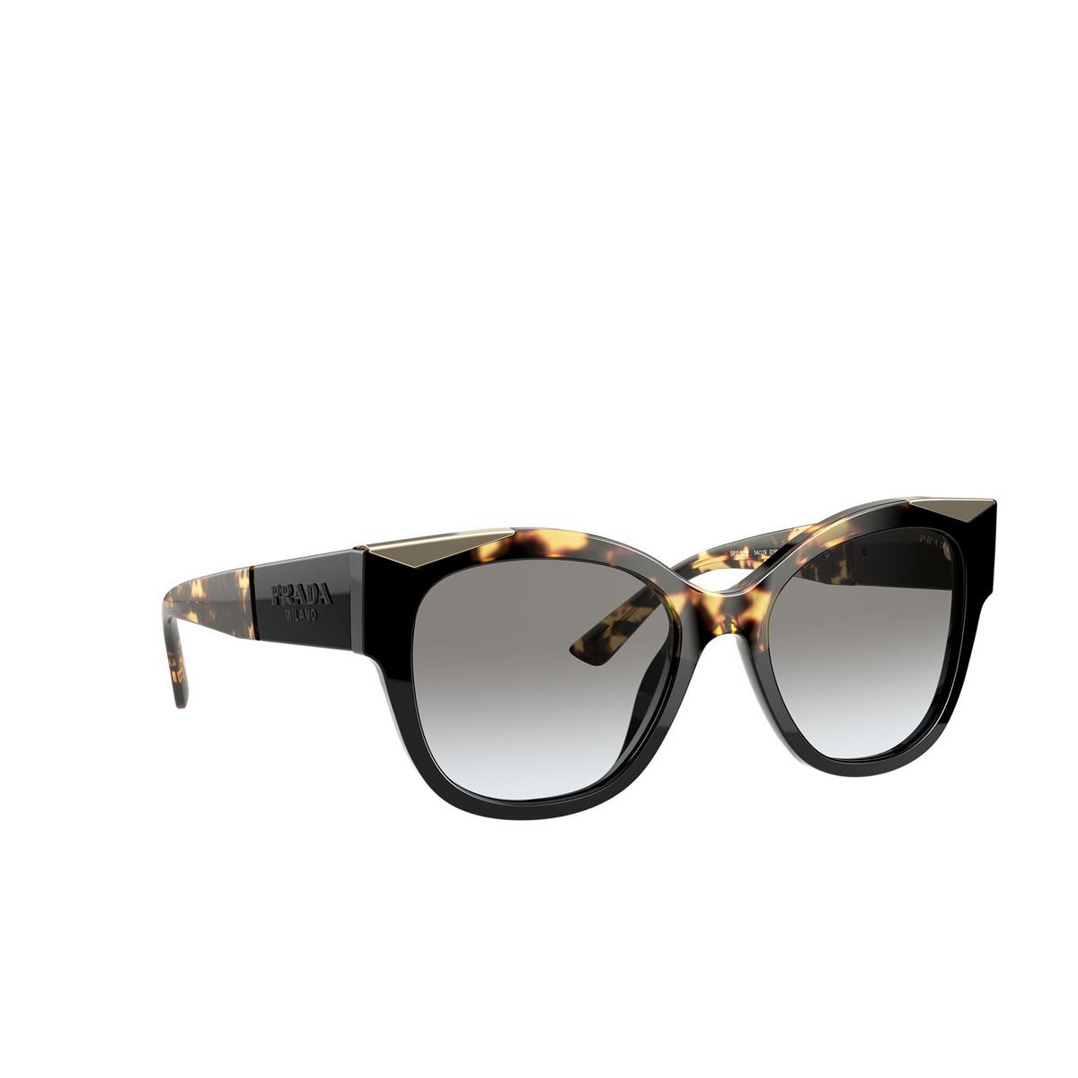 Prada® Butterfly Sunglasses: PR 02WS color Black / Medium Havana 01M0A7 - three-quarters view.