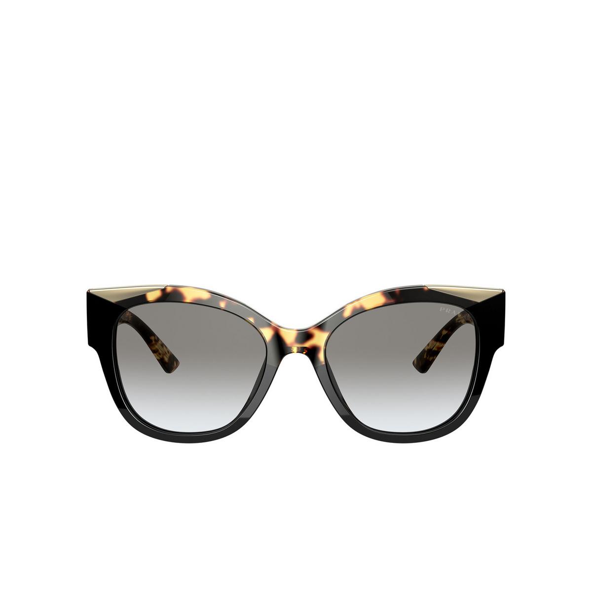 Prada® Butterfly Sunglasses: PR 02WS color Black / Medium Havana 01M0A7 - front view.