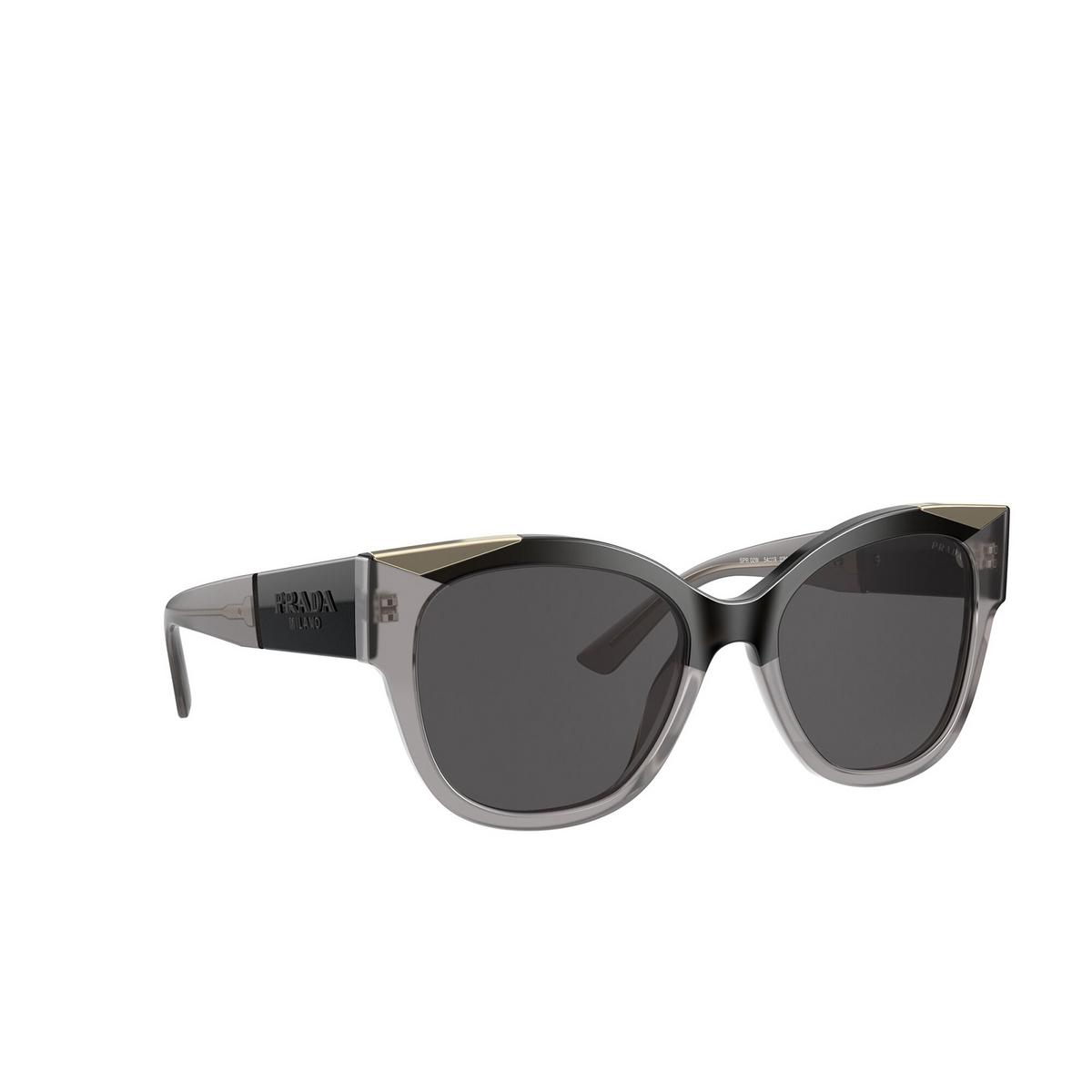 Prada® Butterfly Sunglasses: PR 02WS color Black / Opal Grey 03M5S0 - three-quarters view.