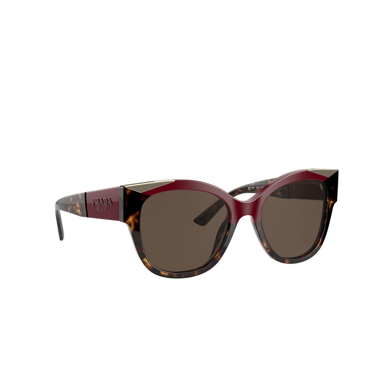 Prada® Butterfly Sunglasses: PR 02WS color Cherry / Dark Havana 07C0D1 - three-quarters view.
