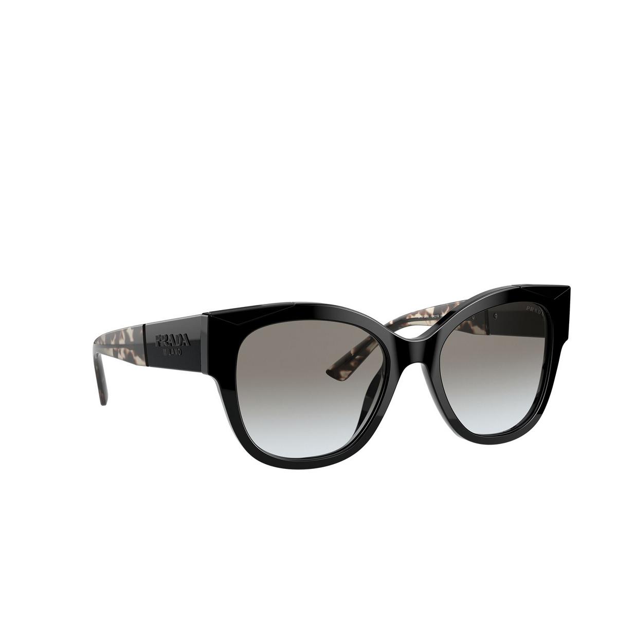 Prada® Butterfly Sunglasses: PR 02WS color Black 1AB0A7 - three-quarters view.