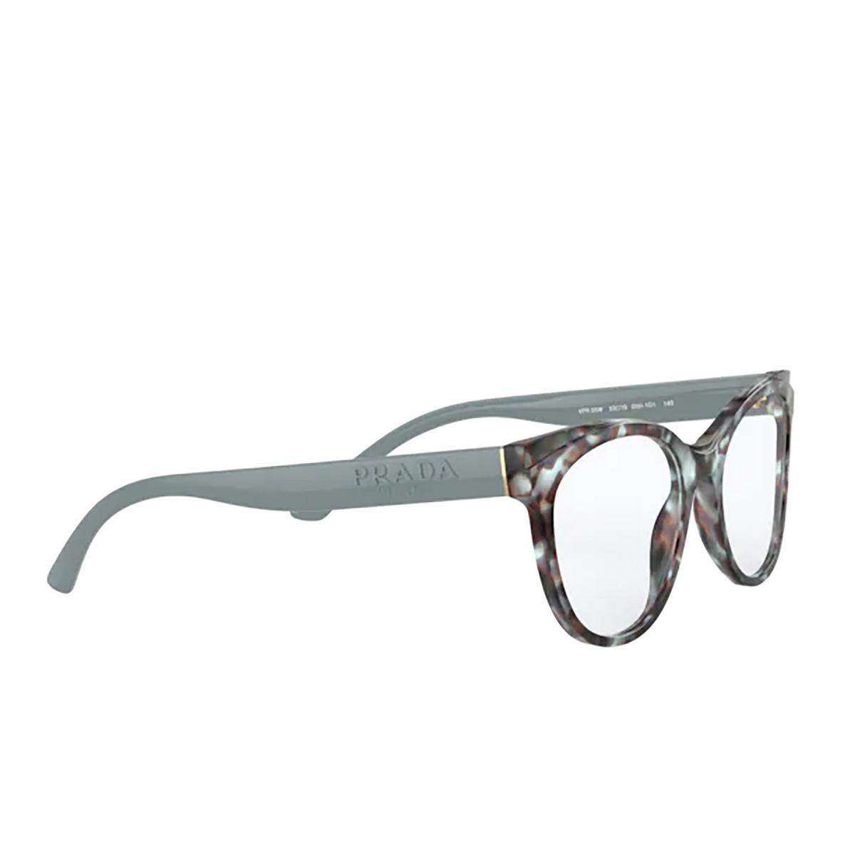 Prada® Butterfly Eyeglasses: PR 05WV color Blue / Brown 05H1O1 - three-quarters view.